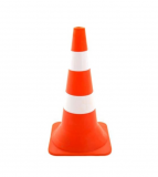Конус сигнальный 0,6 м оранжевый c 2 белые полосы